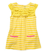 Carter's® Girls' 2T-4T Yellow/White Striped Short Sleeve Tunic
