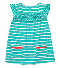 Carter's® Girls' 4-6X Teal/White Striped Short Sleeve Tunic