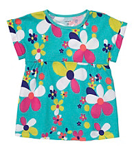Carter's® Girls' 2T-4T Teal Short Sleeve Floral Tee