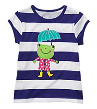 Carter's® Girls' 2T-4T Purple/White Striped Short Sleeve Frog Tee