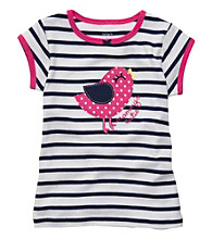 Carter's® Girls' 2T-4T Navy/White Striped Short Sleeve Bird Tee