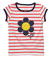Carter's® Girls' 2T-4T Orange/White Striped Short Sleeve Daisy Tee