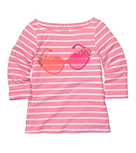 OshKosh B'Gosh® Girls' 4-6X Pink/White Striped Long Sleeve Sunglasses Tee