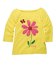OshKosh B'Gosh® Girls' 4-6X Yellow Long Sleeve Daisy Tee