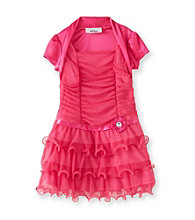 Amy Byer Girls' 4-6X Pink Wire Hem Shrug Dress