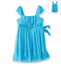 Amy Byer Girls' 4-6X Turquoise Handkerchief Hem Dress