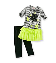 Beautees Girls' 4-6X Neon Yellow/Black Star Leggings Set