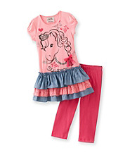 Beautees Girls' 4-6X Pink Horse Leggings Set