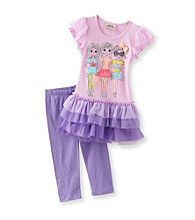 Beautees Girls' 4-6X Purple 3D Girls Leggings Set