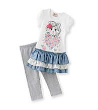 Beautees Girls' 4-6X White/Grey Heather Girl Leggings Set