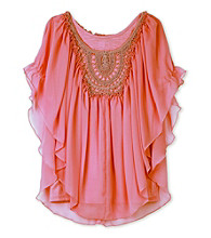 Amy Byer Girls' 7-16 Crochet Butterfly Sleeve Top