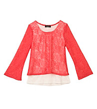 Amy Byer Girls' 7-16 Pink Lace Popover Top