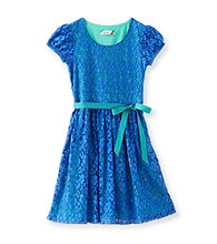 Speechless® Girls' 7-16 Blue Belted Lace Dress