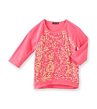Eyeshadow® Girls' 7-16 Hologram Sequin Front Tee