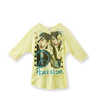 Beautees Girls' 7-16 Yellow Peace Love Hi-Lo Tee