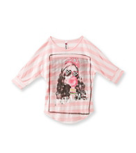 Beautees Girls' 7-16 Pink Striped Fabulous Shirtail Tee