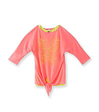 Beautees Girls' 7-16 Neon Pink Butterfly Lasercut Tee