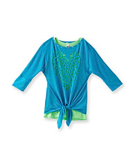 Beautees Girls' 7-16 Neon Blue Heart Lasercut Tee