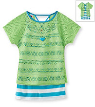 Beautees Girls' 7-16 Neon Green Striped Crochet Popover Top