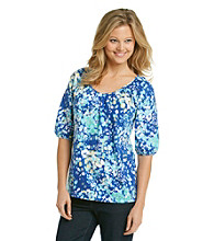 Relativity Ruched Shoulder V-Neck Elbow Sleeve