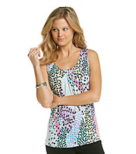 Relativity® Career Petites' Pleatneck Printed Tank