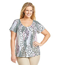 Relativity Career Plus Size Pleatneck Printed Tee
