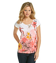 Relativity Career Pink Flower Scoopneck