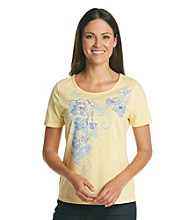 Breckenridge Short Sleeve Embellished Tee- Butterflies And Blooms