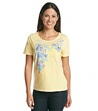 Breckenridge® Petites' Short Sleeve Embellished Tee- Butterflies And Blooms