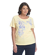 Breckenridge® Plus Size Short Sleeve Embellished Tee- Buttterflies And Blooms