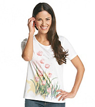 Breckenridge® Petites' Short Sleeve Embellished Tee- French Tulips