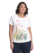 Breckenridge Plus Size Short Sleeve Embellished Tee- French Tulips