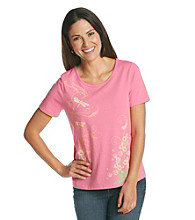 Breckenridge Short Sleeve Embellished Tee- Study In Dragonflies
