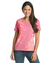 Breckenridge® Petites' Short Sleeve Embellished Tee- Study In Dragonflies