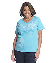 Breckenridge Plus Size Short Sleeve Embellished Tee- Spring Swirl