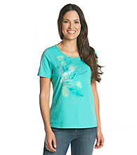 Breckenridge® Petites' Short Sleeve Embellished Tee-Daisy Delight