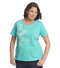 Breckenridge Plus Size Short Sleeve Embellished Tee- Daisy Delight