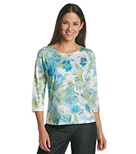 Breckenridge® Petites' 3/4 Sleeve Floral Sublimation Tee