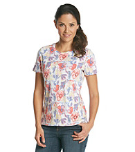 Studio Works® Petites' Flowers Printed Crewneck Tee
