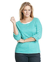 Studio Works® Plus Size Striped Layered-Look Tee
