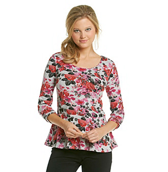 NY Collection Allover Printed Peplum Knit Top