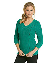 NY Collection V-neck Sweater With Novelty Stitching