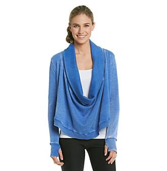 Calvin Klein Performance Distressed Fleece Drape Neck Pullover