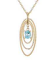 18K Oval Blue Topaz Pendant Cable Chain