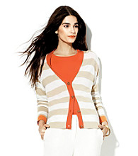 Vince Camuto® Button-Front Stripe Cardigan