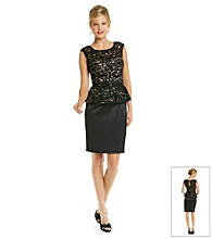 Xscape Lace Peplum Cocktail Dress