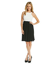 Calvin Klein Halter Top Pleated Skirt Dress