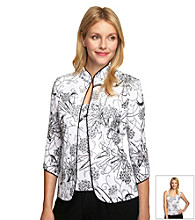 Alex Evenings® Floral Mandarin Collar Twinset