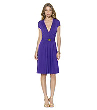 Lauren Ralph Lauren Pleated V-Neck Sheath