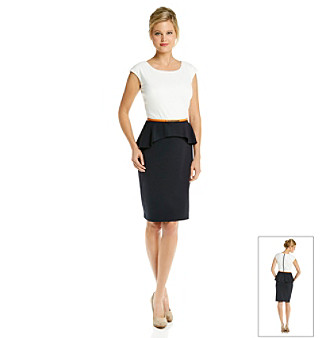 Ronni Nicole 2 Tone Belted Peplum Dress
